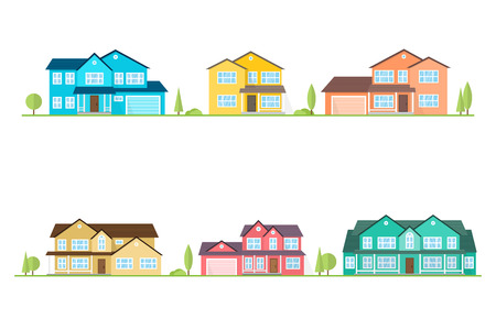 Neighborhood with homes illustrated on white. Vector flat icon suburban american houses. For web design and application interface, also useful for infographics. Vector illustration. Ilustracja