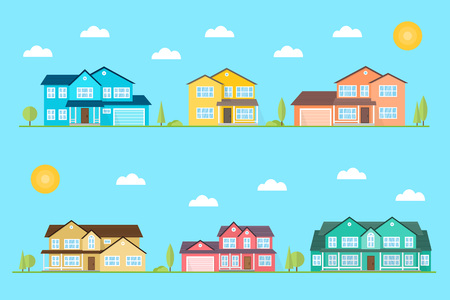 Neighborhood with homes illustrated on the blue background. Vector flat icon suburban american houses day For web design and application interface, also useful for infographics. Vector illustration. Çizim