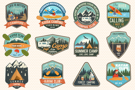 Set of summer camp, canoe and kayak club badges. Vector. Concept for patch. Retro design with camping, mountain, river, american indian and kayaker silhouette. Extreme water sport kayak patches