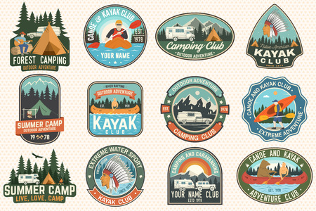 Set of summer camp, canoe and kayak club badges. Vector. For patch. Design with camping, mountain, river, american indian and kayaker silhouette. Extreme camp and water sport kayak patches 向量圖像