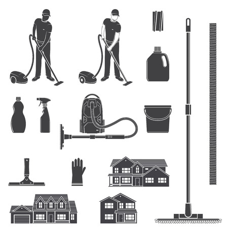 Cleaning icon silhouette for emblems and labels. Set include man with vocuum cleaner, eguipment, houses. Vector illustration.