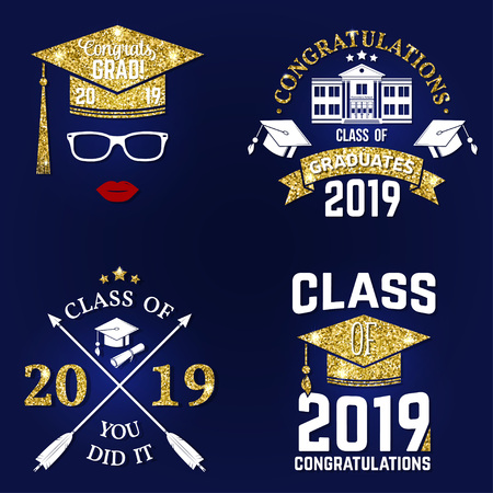 Set of vector Class of 2019 badge. Concept for shirt, print, seal, overlay or stamp, greeting, invitation card. Design with graduation cap, diploma, glasses, lips and text Class of.