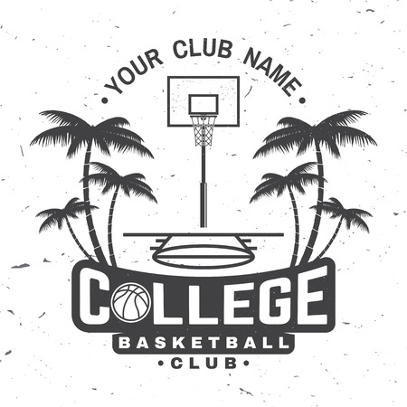 College basketball club badge. Vector illustration. Concept for shirt, print, stamp. Vintage typography design with basketball ring, net and ball silhouette.