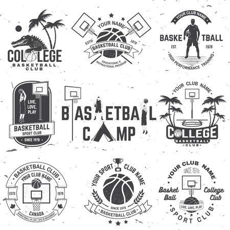 Set of basketball college club badge. Vector. Concept for shirt, print, stamp or tee. Vintage typography design with crocodile and basketball ball silhouette.