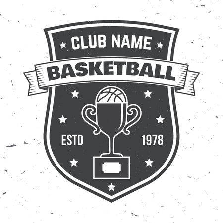 Basketball sport club badge. Vector illustration. Concept for shirt, stamp or tee. Vintage typography design with award cup and basketball ball silhouette.