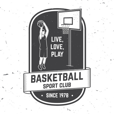 Basketball club badge. Vector illustration. Concept for shirt, print or tee. Vintage typography design with basketball player and basketball ball silhouette Illustration