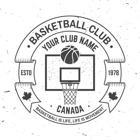 Basketball club badge. Vector illustration. Concept for shirt, print, stamp. Vintage typography design with basketball ring, net and ball silhouette.