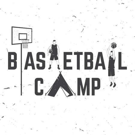 Basketball camp badge. Vector illustration. Concept for shirt, print or tee. Vintage typography design with tent, basketball player, ball, hoop silhouette Иллюстрация