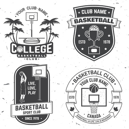 Set of basketball club badge. Vector. Concept for shirt, print, stamp or tee. Vintage typography design with basketball player, hoop and ball silhouette.