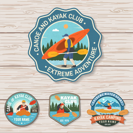 Set of canoe and kayak club badges Vector. Concept for patch, shirt, stamp or tee. Vintage design with mountain, river, forest and kayaker silhouette. Extreme water sport kayak patches 向量圖像