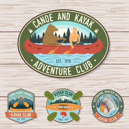 Set of canoe and kayak club badges Vector. Concept for patch, shirt, stamp or tee. Vintage design with mountain, river, american indian and kayaker silhouette. Extreme water sport kayak patches Ilustrace