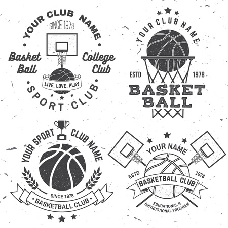 Set of basketball college club badge. Vector illustration. Concept for shirt, print or tee. Vintage typography design with basketball hoop and basketball ball silhouette.