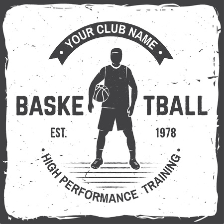 Basketball club badge. Vector illustration. Concept for shirt, print or tee. Vintage typography design with basketball player and basketball ball silhouette Иллюстрация