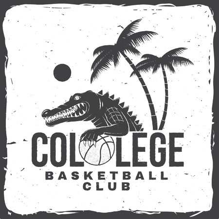 Basketball college club badge. Vector. Concept for shirt, print, stamp or tee. Vintage typography design with crocodile and basketball ball silhouette. 向量圖像