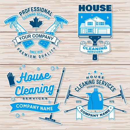 Cleaning company badge, emblem. Vector illustration. Concept for shirt, stamp or sticker. Vintage typography design with cleaning equipments. Cleaning service sign for company related business Vector Illustratie