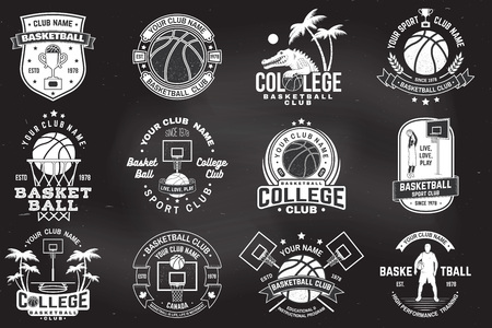 Set of basketball college club badge on the chalkboard. Vector. Concept for shirt, print, stamp or tee. Vintage typography design with crocodile and basketball ball silhouette. Vektorové ilustrace