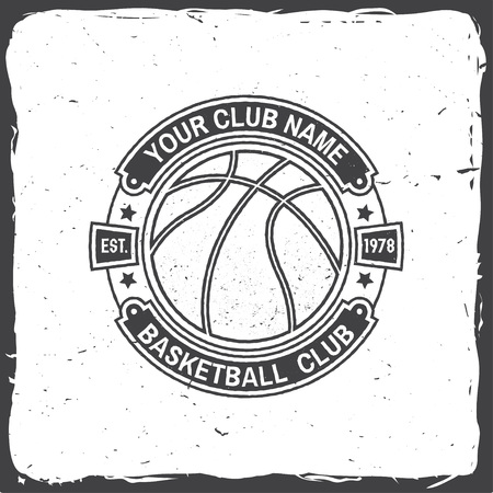 Basketball club badge. Vector. Concept for shirt, print, stamp. Vintage typography design with basketball ring, net and ball silhouette. Иллюстрация