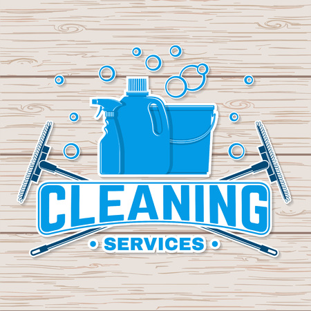 Cleaning company badge, emblem. Vector illustration. Concept for shirt, stamp or tee. Vintage typography design with cleaning equipments. Cleaning service sign for company related business Imagens - 119591904