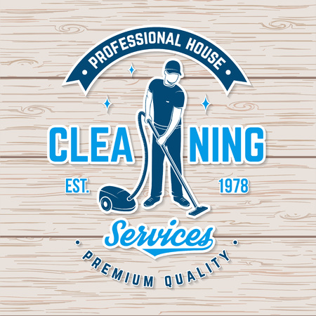 Cleaning company badge, emblem. Vector illustration. Concept for shirt, stamp or sticker. Vintage typography design with cleaning equipments. Cleaning service sign for company related business Foto de archivo - 119591907
