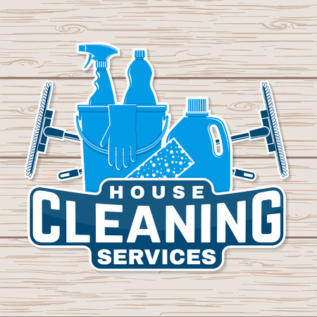 Cleaning company badge, emblem. Vector illustration. Concept for patch, stamp or sticker. Vintage typography design with cleaning equipments. Cleaning service sign for company related business Stock Vector - 119591969