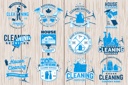 Cleaning company badge, emblem. Vector illustration. Concept for patch, stamp or sticker. Vintage typography design with cleaning equipments. Cleaning service sign for company related business Zdjęcie Seryjne - 119591970