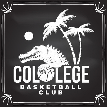 Basketball college club badge. Vector. Concept for shirt, print, stamp or tee. Vintage typography design with crocodile and basketball ball silhouette. Illustration