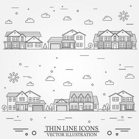 Neighborhood with homes illustrated. Vector thin line icon suburban american houses. For web design and application interface, also useful for infographics. Vector dark grey.