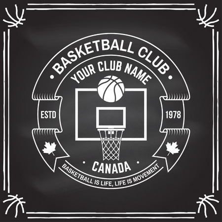 College basketball club badge on the chalkboard. Vector. Concept for shirt, print, stamp. Vintage typography design with basketball ring, net and ball silhouette. Çizim