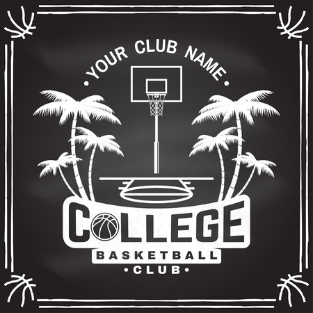 College basketball club badge on the chalkboard. Vector illustration. Concept for shirt, print, stamp. Vintage typography design with basketball ring, net and ball silhouette.