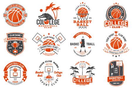 Ensemble d'insigne de club de basket-ball. Vecteur. Concept pour chemise, impression, timbre ou tee. Conception de typographie vintage avec silhouette de joueur de basket-ball, de cerceau et de balle.