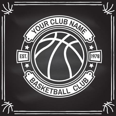 Basketball club badge. Vector. Concept for shirt, print, stamp. Vintage typography design with basketball ball silhouette.