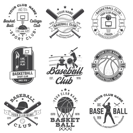 Set of basketball and baseball badge, emblem. Vector. Concept for shirt, print, stamp, apparel or tee. Vintage design with basketball player, baseball player and sport equipments silhouette.