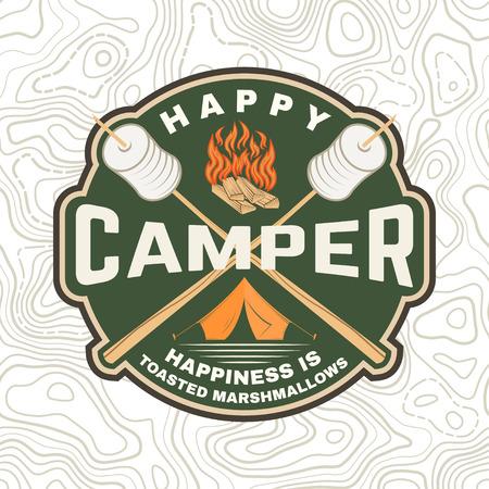 Szczęśliwa łatka dla kamperów. Szczęście to prażone pianki. Wektor. Projekt typografii Vintage z namiotem kempingowym, ogniskiem, pianką na sylwetce kija. Ilustracje wektorowe