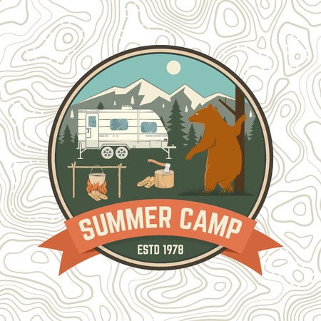Summer camp patch. Vector. Concept for shirt or logo, print, stamp, apparel or tee. Vintage typography design with camping trailer, bear, campfire and forest silhouette.