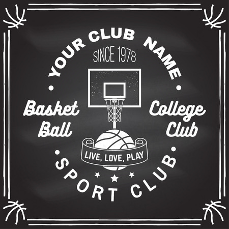 Basketball club badge on the chalkboard. Vector illustration. Concept for shirt, print, stamp. Vintage typography design with basketball ring, net and ball silhouette.