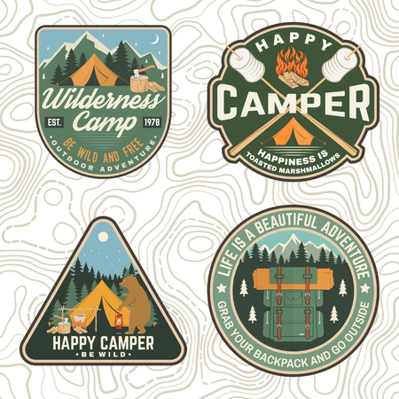 Set of Summer camp patches. Vector. Concept for shirt, stamp, apparel or tee. Vintage design with lantern, pocket knife, campin tent, axe, mountain, campfire and forest silhouette.