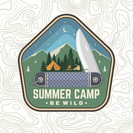 Summer camp patch. Be wild. Vector. Concept for shirt or badge, overlay, print, stamp or tee. Vintage typography design with pocket knife, camping tent and forest silhouette in the night.