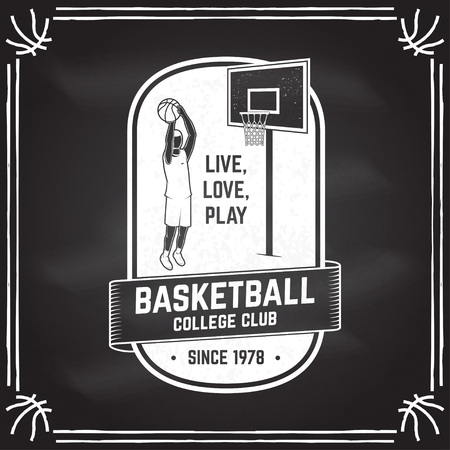 Basketball club badge on the chalkboard. Vector illustration. Concept for shirt, print or tee. Vintage typography design with basketball player and basketball ball silhouette Illustration