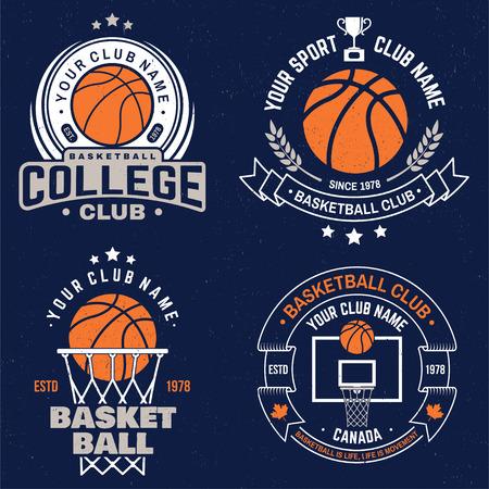 Ensemble d'insigne de club de basket-ball. Vecteur. Conception graphique pour t-shirt, tee-shirt, impression ou vêtements. Conception de typographie vintage avec panier de basket et silhouette de balle.