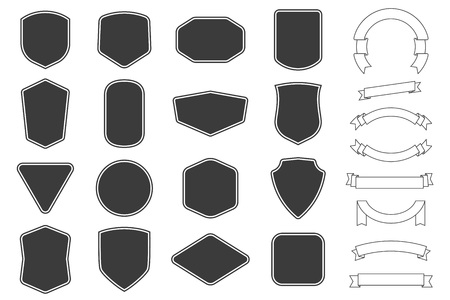 Vitage 레이블, 배지 모양 및 리본 배너 컬렉션 집합입니다. 벡터. 패치, 휘장, 오버레이용 검정 템플릿입니다.