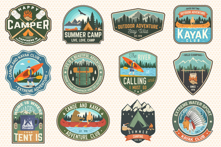 Set of summer camp, canoe and kayak club badges. Vector. For patch. Design with camping, mountain, river, american indian and kayaker silhouette. Extreme camp and water sport kayak patches Иллюстрация