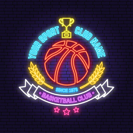 Basketball sport club badge neon design or emblem. Vector. Concept for shirt, print, stamp or tee. Vintage typography design with award cup and basketball ball silhouette. Night neon signboard