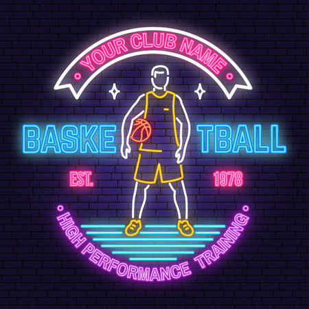 Basketball club neon design. Vector. Concept for shirt, print, stamp or tee. Vintage typography design with basketball player and basketball ball silhouette. Night neon signboard
