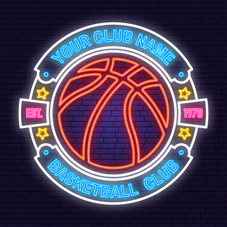 Basketball club neon design or emblem. Vector. Concept for shirt, print, stamp or tee. Vintage typography design with basketball hoop and ball silhouette. Night neon signboard