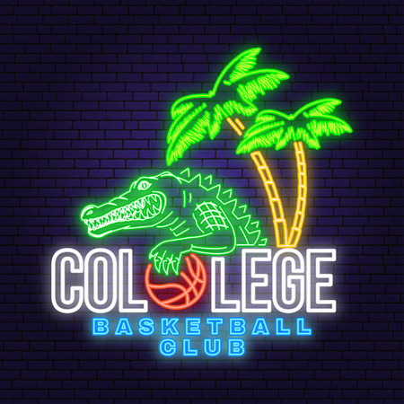 Basketball college neon design or emblem. Vector. Concept for shirt, print, stamp or tee. Vintage typography design with crocodile and basketball ball silhouette. Night neon signboard
