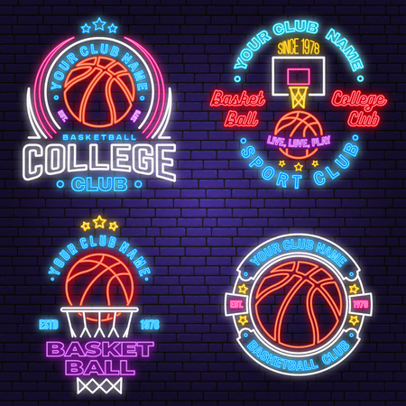 Set of basketball club neon design or emblem. Vector. Graphic design for t-shirt, tee, apparel. Vintage typography design with basketball hoop and ball silhouette. Night neon signboard Ilustração