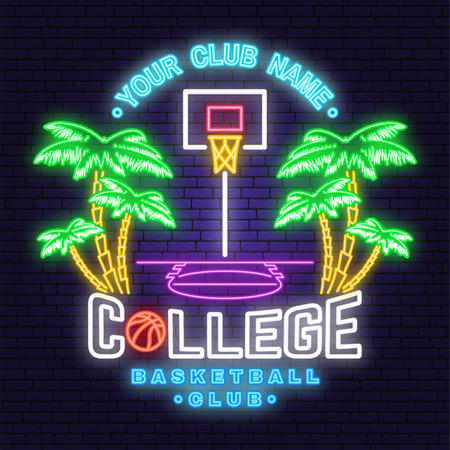 College basketball club neon design. Vector. Concept for shirt, print, stamp or tee. Vintage typography design with palm, basketball hoop and ball silhouette. Night neon signboard