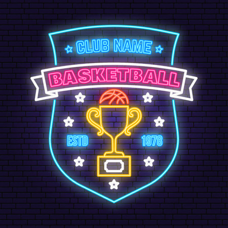 Basketball sport club badge neon design. Vector. Concept for shirt, print, stamp or tee. Vintage typography design with award cup and basketball ball silhouette. Night neon signboard