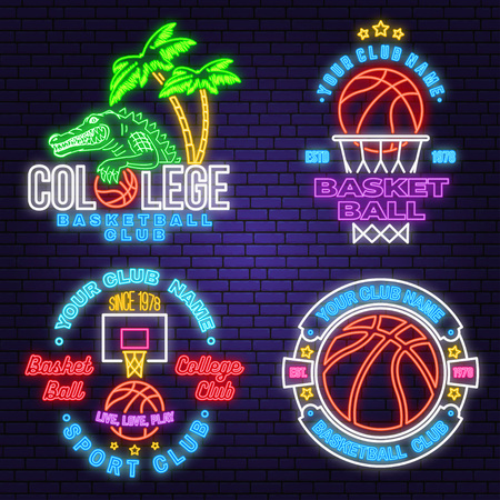 Set of basketball club neon design or emblem. Vector. Graphic design for t-shirt, tee, apparel. Vintage typography design with basketball hoop and ball silhouette. Night neon signboard Illustration