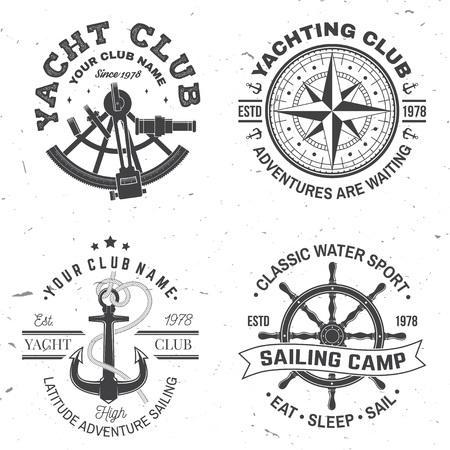 Set zomer zeilkamp badge. Vector. Concept voor shirt, stempel of tee. Vintage typografie design met zwarte zee ankers, handwiel, kompas en sextant silhouet. Beste sportactiviteit Vector Illustratie
